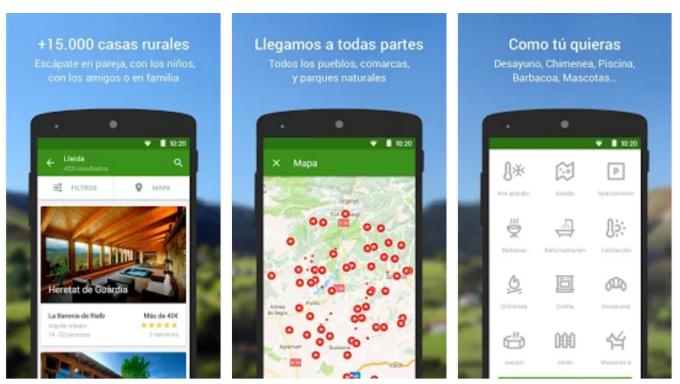 Capturas de pantalla de la nueva App de turismo rural