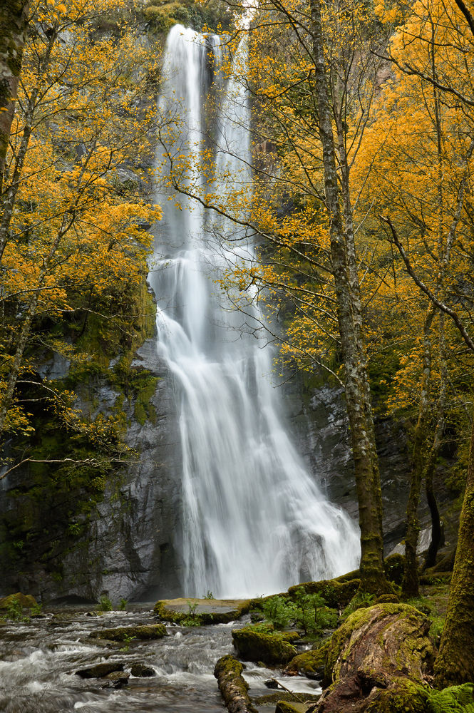 Vilagocende waterfall is the highest waterfall in Galicia
