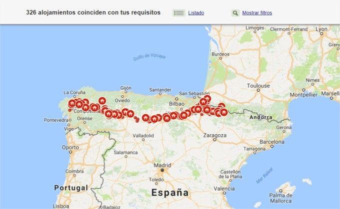 Mapa de casas rurales del Camino de Santiago Francés