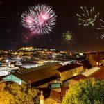 Fuegos artificiales fiestas de Lisboa, Portugal
