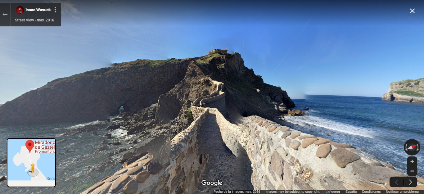 San Juan de Gaztelugatxe. Por Google Street View