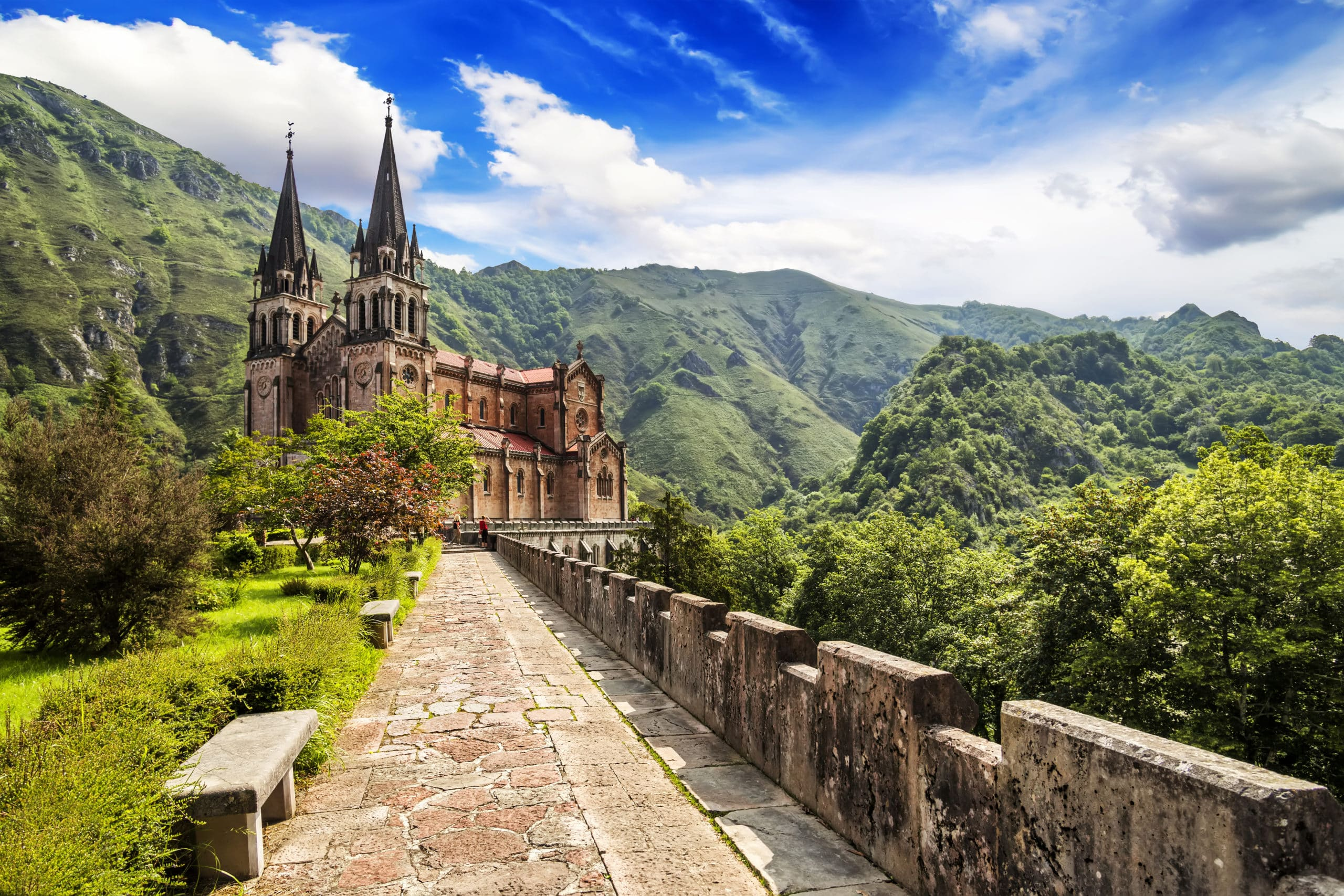 Basilica of Our Lady of Battles, Covadonga, Asturias, Spain.