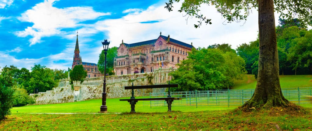 Palacio de Sobrellano, Comillas, Cantabria, Spain.Scenic historic architecture.Cantabria and Santander tourism landmark.Comillas palace. Spain travel.