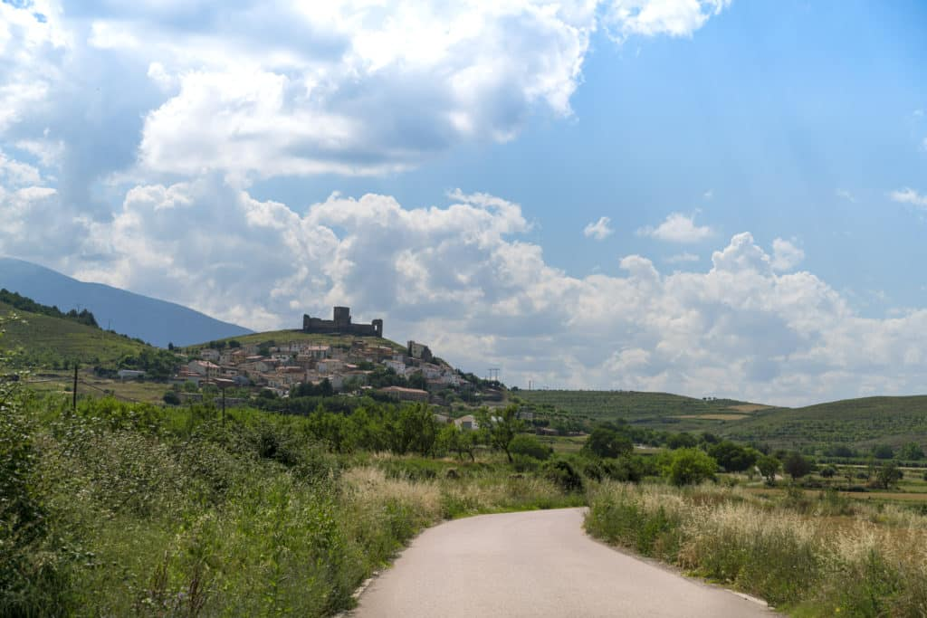 Landscape of the village of Trasmoz with the castle at the top of the mountain the only Spanish village officially cursed and excommunicated by the Catholic Church Zaragoza, Spain