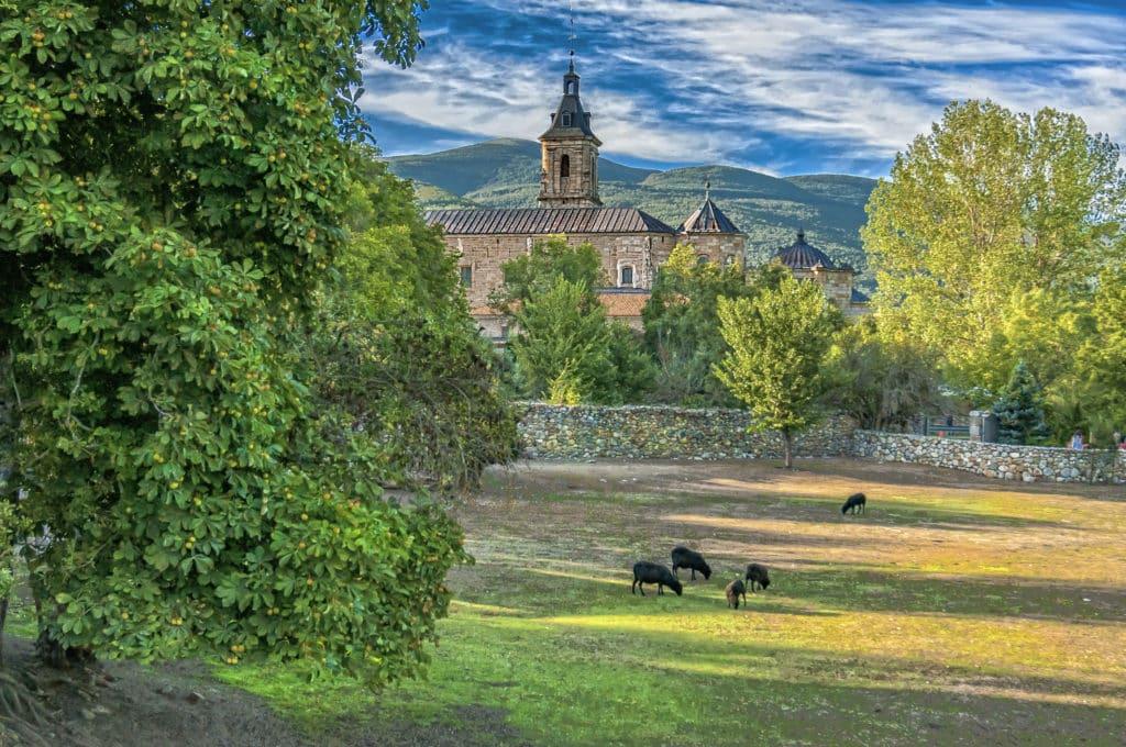 Monastery of El Paular. View of the Monastery of El Paular from the bridge of forgiveness, Rascafría, Madrid, Spain.