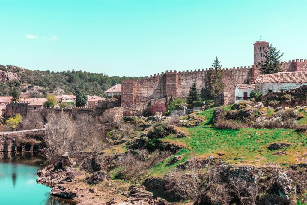 View over small historic town Buitrago de Lozoya in Spain