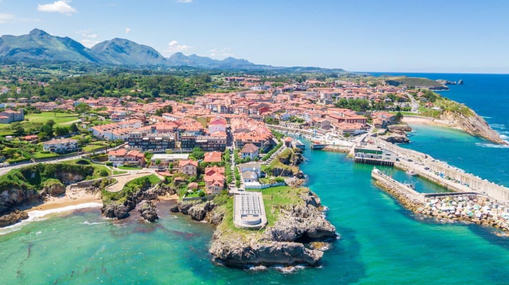 aerial view of llanes fishing town in asturias, spain