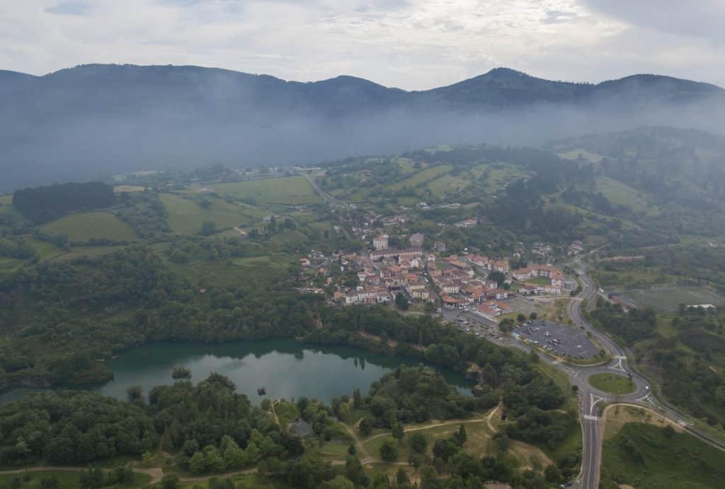 Beautiful aerial views of La Arboleda, Basque Country