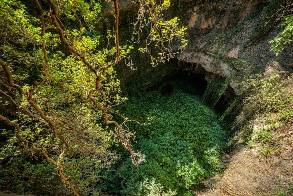 Deep natural sink hole in Grisel, Aragon, Spain .