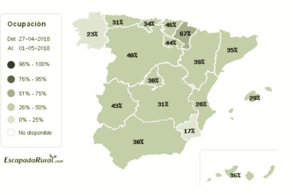 El noreste de España acapara las reservas de turismo rural para el puente de mayo