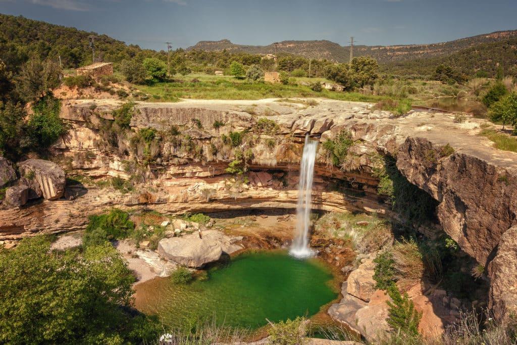 Landscape of the Portellada waterfall, from the Tastavins river, Matarrana region, Teruel province, Spain
