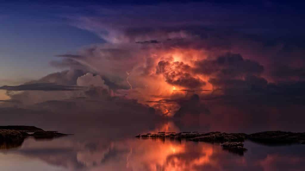 thunderstorm, ocean, twilight, pronosticar el tiempo